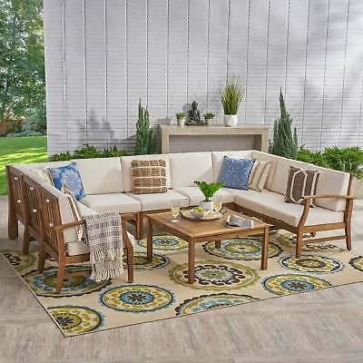 perla outdoor 9 seater acacia wood sectional