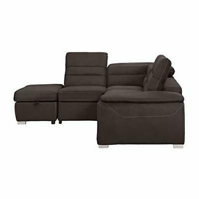 """Homelegance 103"""" Sectional Sofa Bed and Ottoman,"""