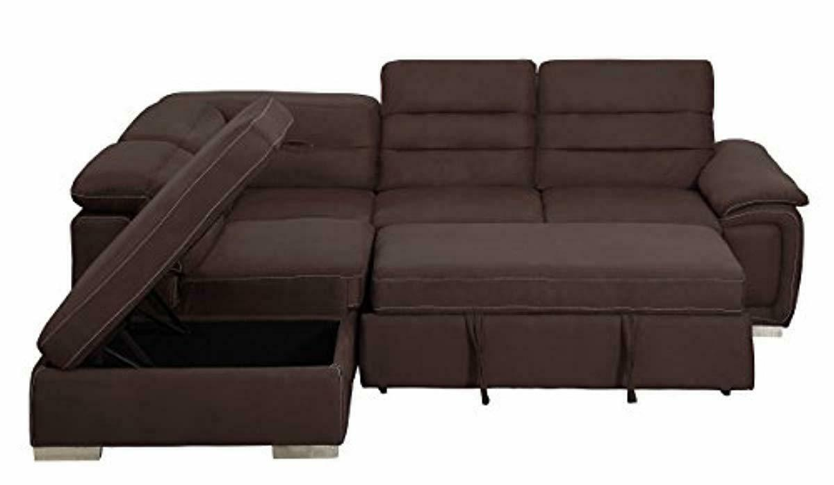 Homelegance Platina Sectional Sofa with Bed Ottoman,
