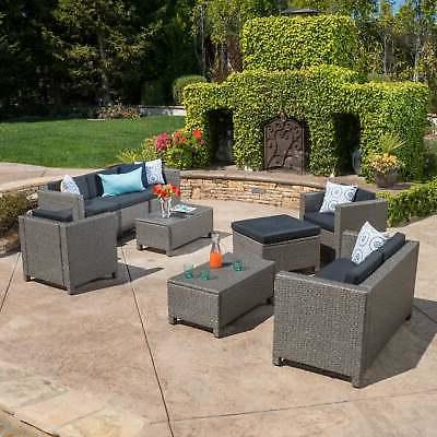puerta outdoor 9 piece wicker sectional sofa