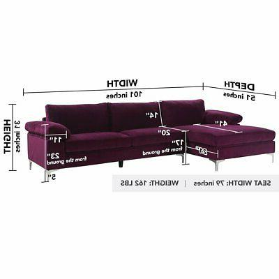 Purple Fabric Extra Wide Chaise