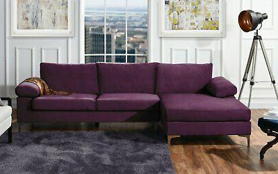 Purple Fabric Sectional Sofa, L-Shape with Extra Wide Chaise