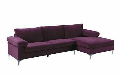Purple Fabric Sofa, L-Shape