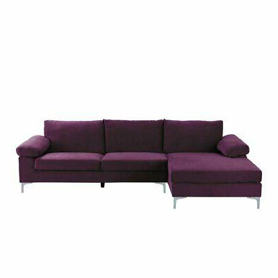 purple velvet fabric sectional sofa l shape