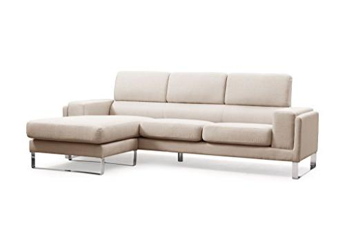 Container Quinn Collection Mid-Century Upholstered Linen Fabric Sofa Set, Cream