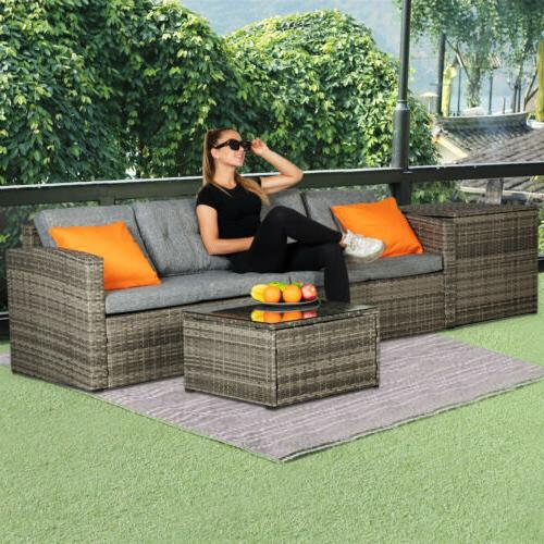 4 PCS Wicker Sofa Set Sectional Couch