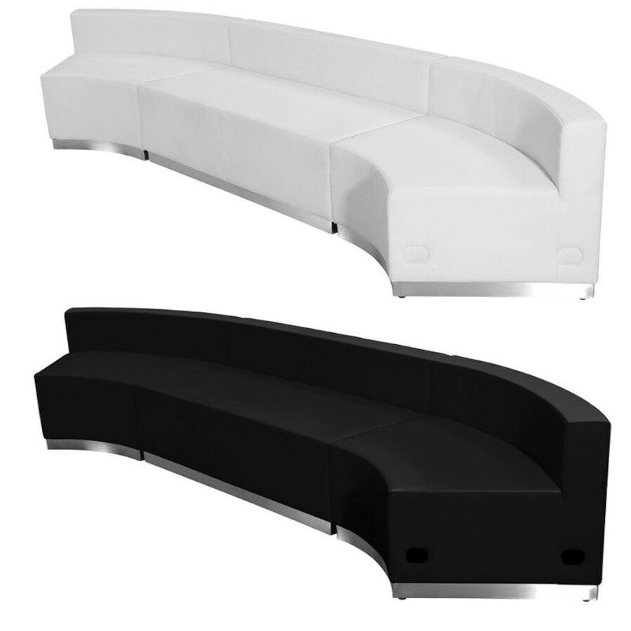 reception sectional black white leather concave 3