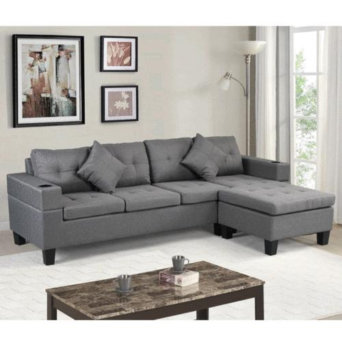 Reversible Sectional Sofa For Living room L-Shaped 4-seat So