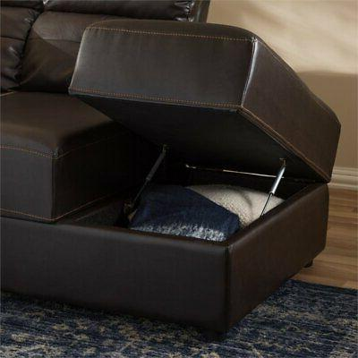Baxton Piece Faux Leather Sectional in