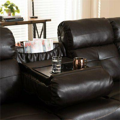 Baxton Studio Piece Leather Sectional in Brown