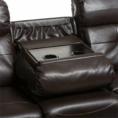 Baxton Roland Piece Leather Reclining Sectional Brown