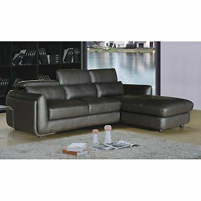 Ron Modern Brown Leather 2-piece Sofa and Chaise Sectional Contem