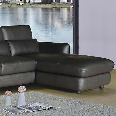 Ron Modern Leather 2-piece and Chaise Sectional Brown Contem