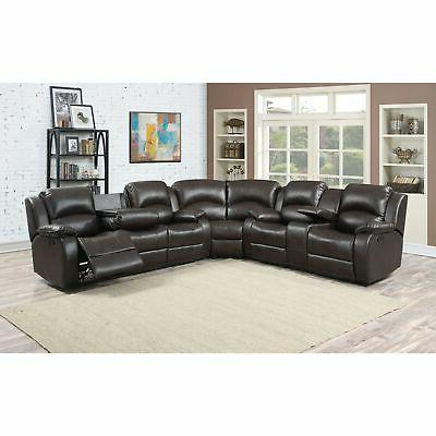 Reclining Sectional Brown Modern