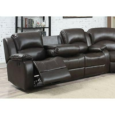 Samara Family Leather Reclining Sectional Brown Modern & Contemporar