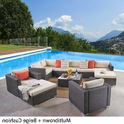 Santa Outdoor 8 Seater Wicker Set by