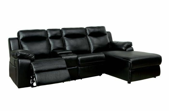 HARDY Sectional Sofa w Console Leatherette Black Couch Comfo