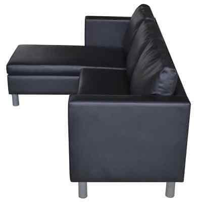 vidaXL Sectional 3-Seater Artificial Leather Black/White