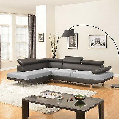2PC Black/Grey Modern 2-Tone Bonded Leather