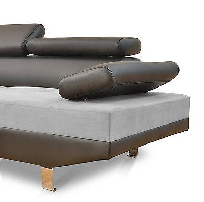 2PC Sofa Black/Grey Modern Microfiber Leather