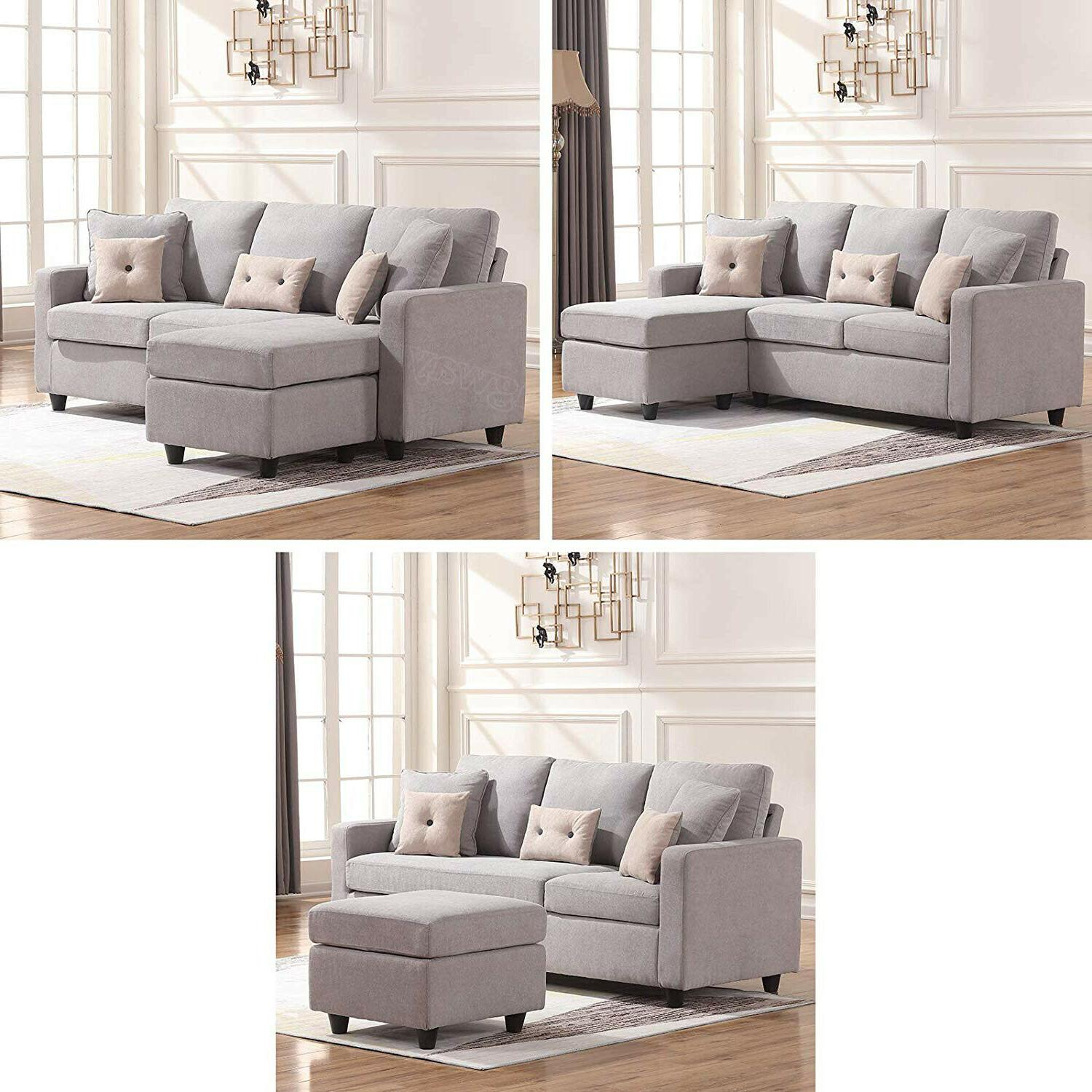 Linen Sectional L-Shaped Couch W/Reversible for