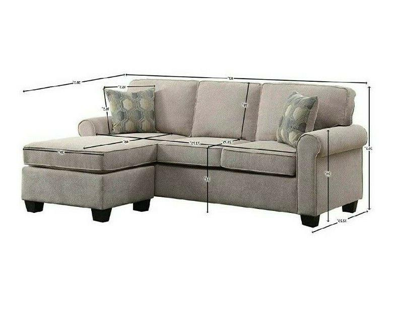 Sectional Sofa Couch with Accent Pillows Reversible Chair Beige