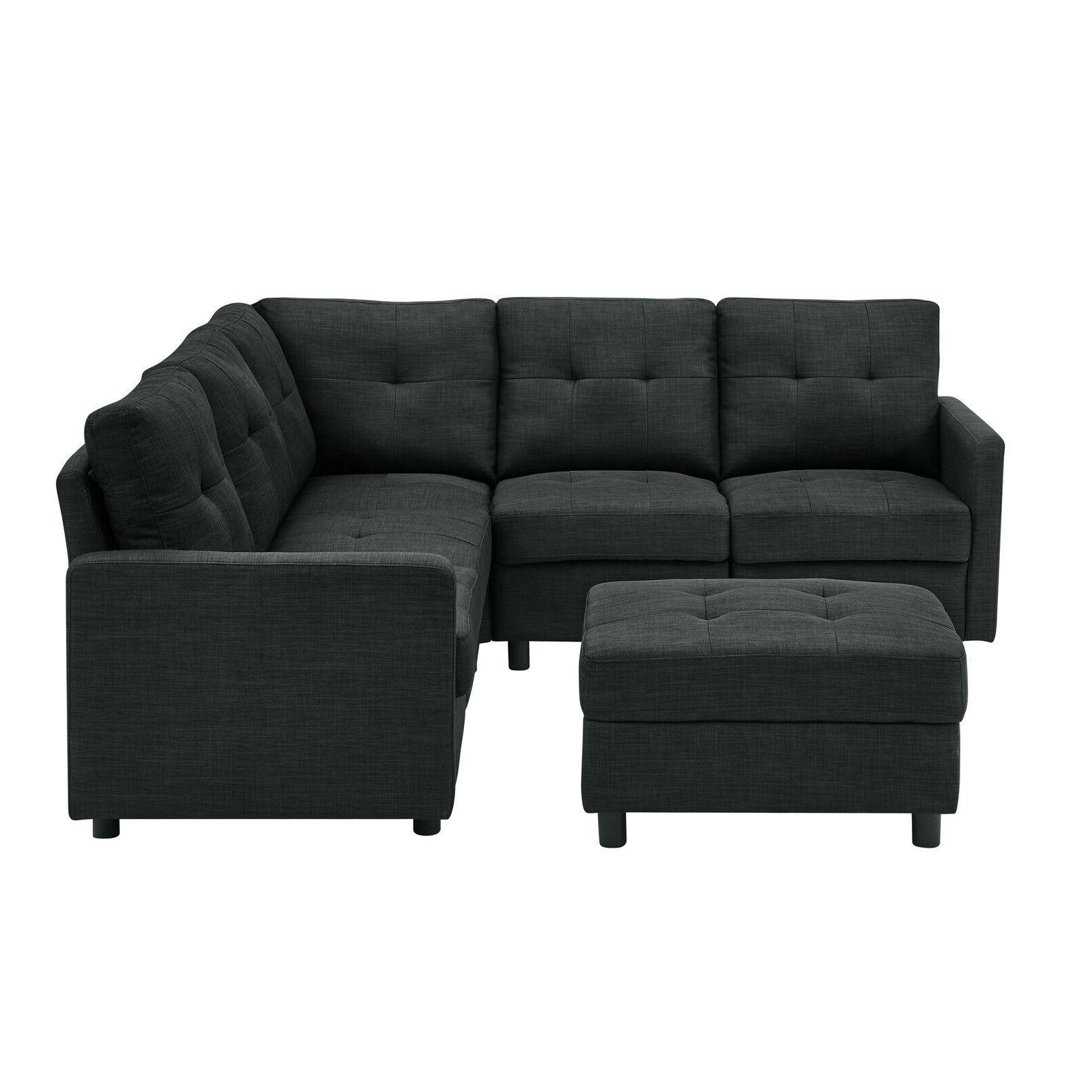 Sectional Linen Fabric Reversible Chaise L-Shaped Couch