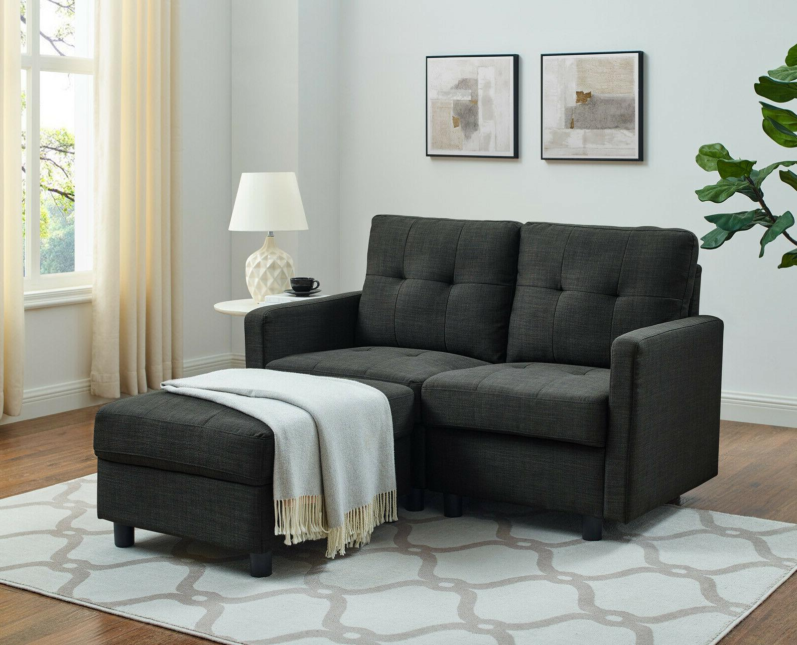 Sectional Sofa Modern Linen with Chaise