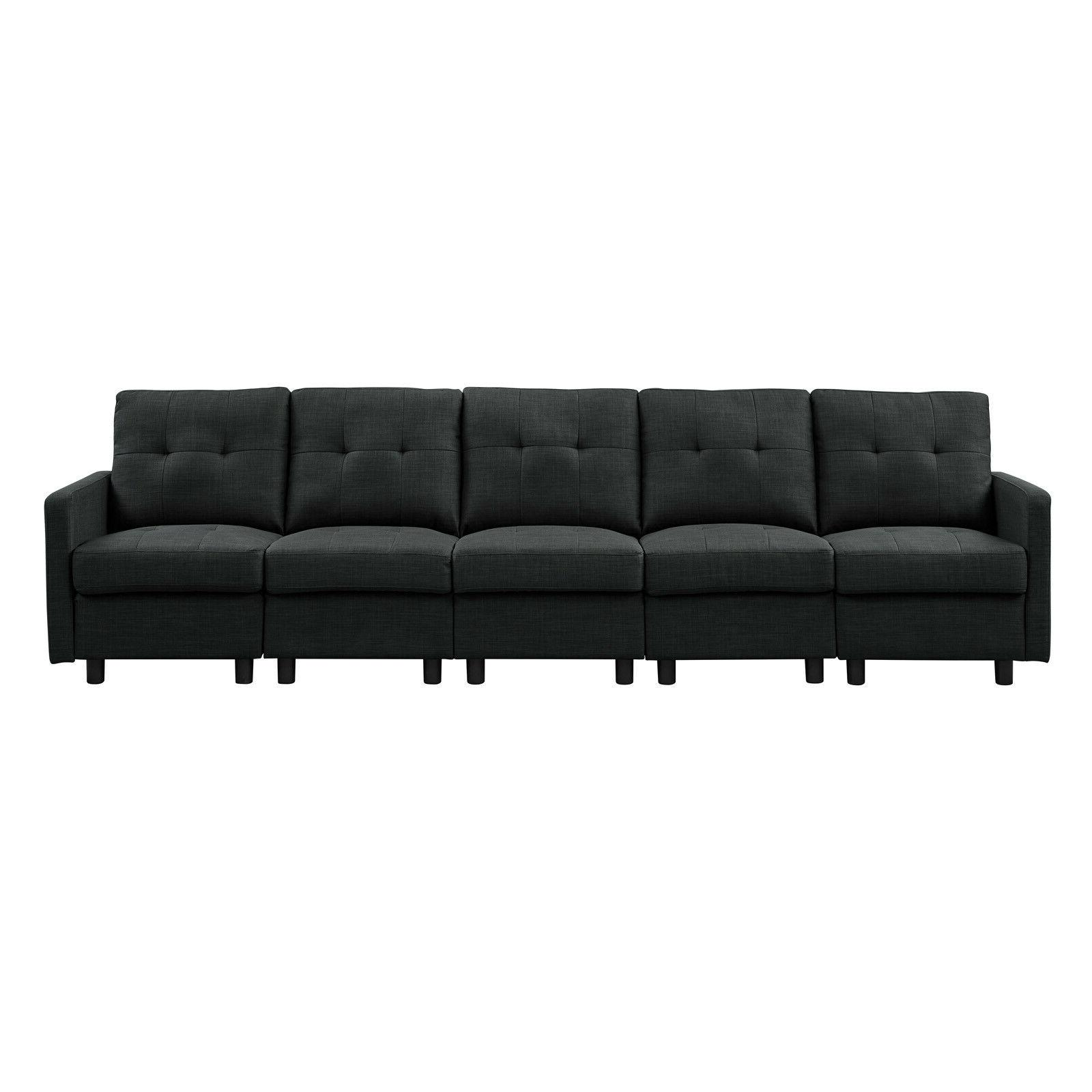 Sectional Linen Fabric Chaise L-Shaped Couch