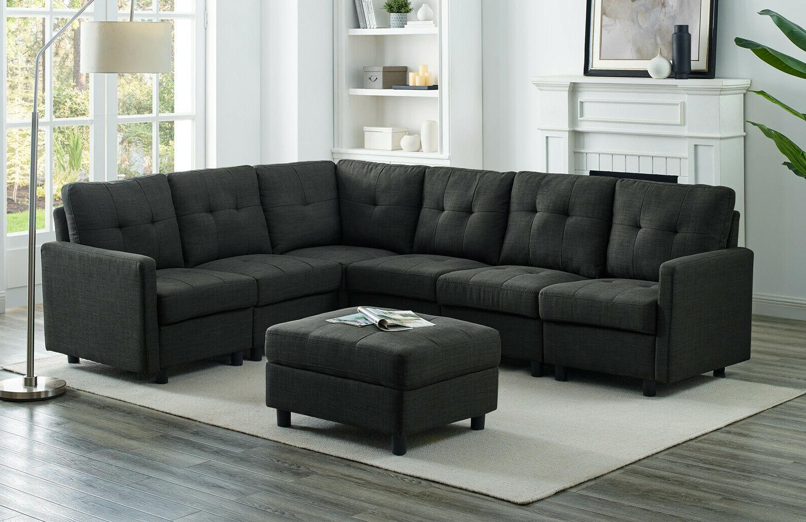 Sectional Sofa Set Modern Linen with Reversible Chaise