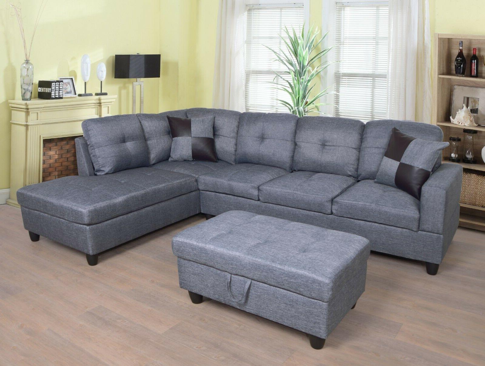 sectional sofa set with ottoman gray microfiber