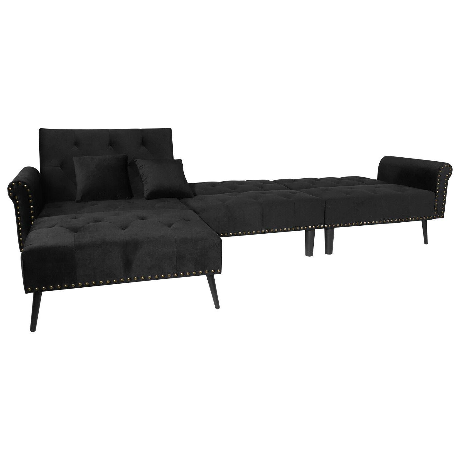 Sectional Sofa Sleeper Bed 900lb 115in Wide Futon Sofa Button Tufted