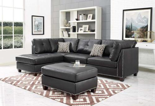 Sectional Leather Rivet Lace Ottoman