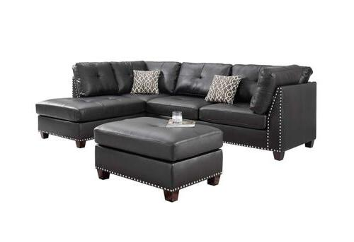 Sectional Leather Chaise Rivet Seats Ottoman