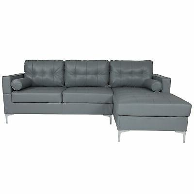 Flash Sectional With Chaise and Bolster Pillows BT-S8376-SFCHSE-GY-GG