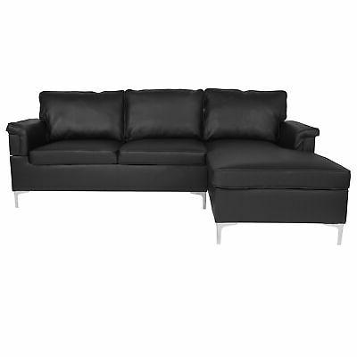 Flash Furniture With Chaise BT-S8375-SFCHSE-BK-GG