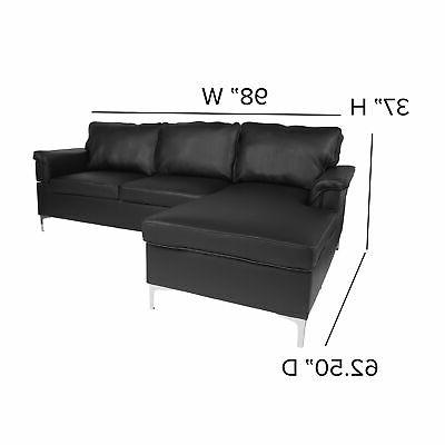 Flash Furniture Sectional Chaise In Black BT-S8375-SFCHSE-BK-GG