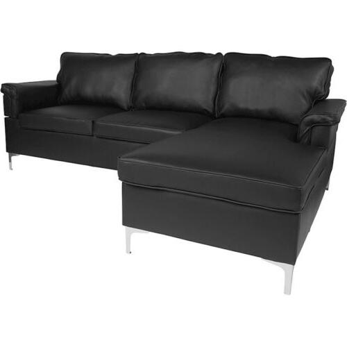sectional with chaise in black leather bt