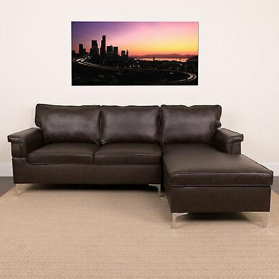 Flash Sectional Chaise Brown Leather BT-S8375-SFCHSE-BRN-GG