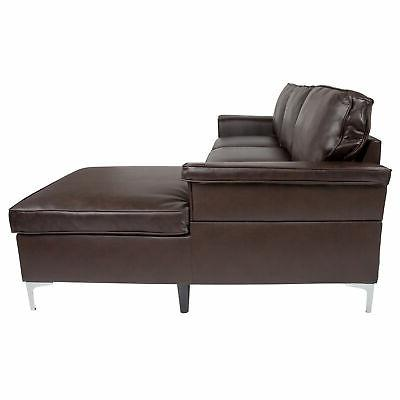 Flash Furniture Sectional Chaise In BT-S8375-SFCHSE-BRN-GG