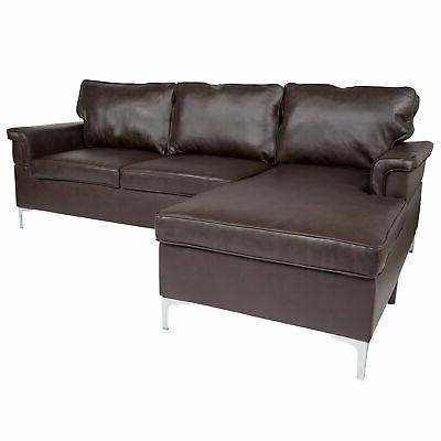 sectional with chaise in brown leather bt