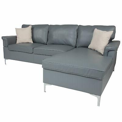 sectional with chaise in gray leather bt