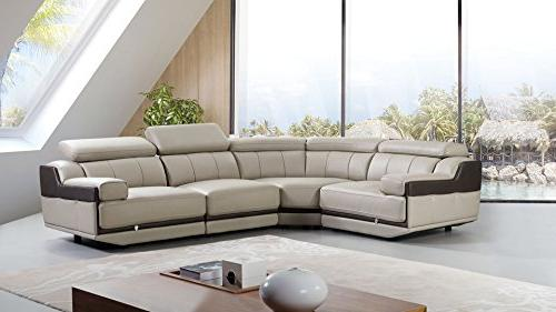 American Furniture Collection Modern Italian Curved Sofa Adjustable Headrests, Light Gray