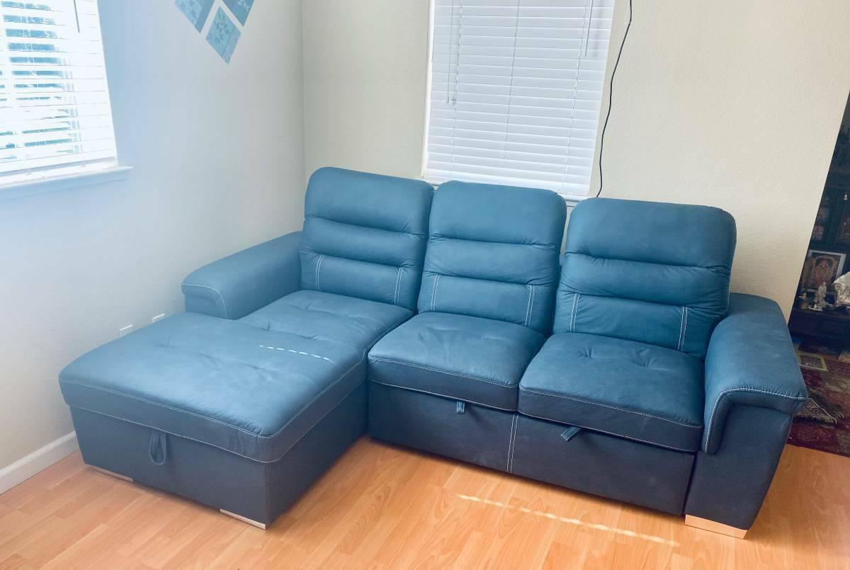 sleeper sectional sofa with storage blue local