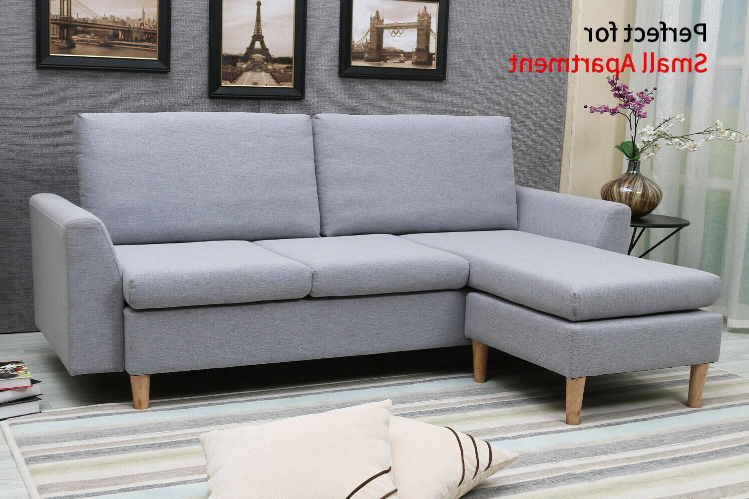 Small Sectional Sofa, L-shaped couch with Reversible Chaise, Sofa with  Ottoman