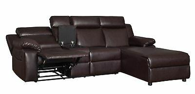 Small Space Brown Recliner Sectional Sofa Chaise Lounge