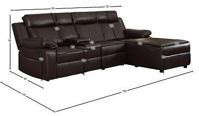 Brown Large Recliner Sofa with Console Small