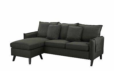 Small Space Couch Chaise Couch, Organizer, Dark