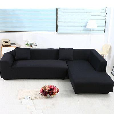 Sofa Covers L Shape,2pcs Polyester Fabric Stretch Slipcovers