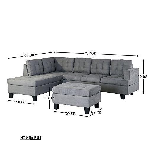 Merax. 3-Piece Sofa with Ottoman Living Furniture, by Harper&Bright